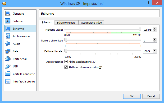 Come aumentare la memoria video oltre 128MB su VirtualBox