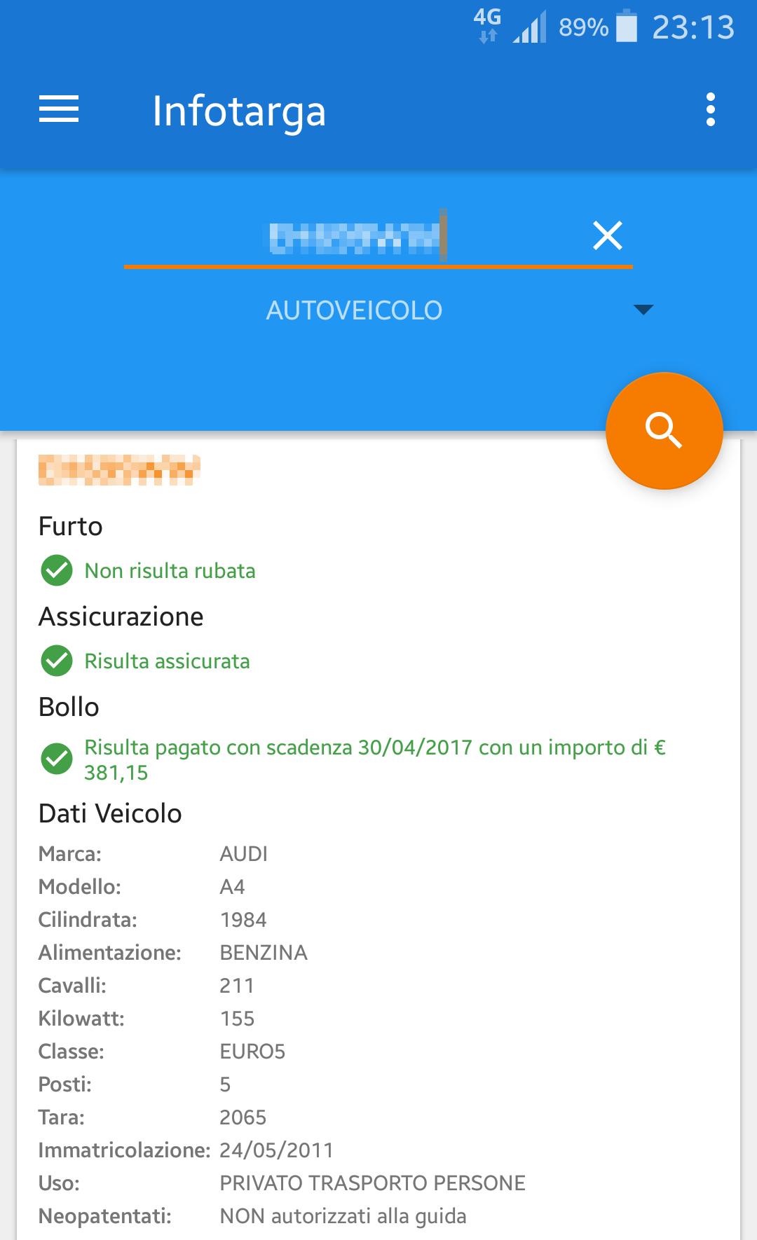 Come ottenere le informazioni di un veicolo dalla targa | App Android 3