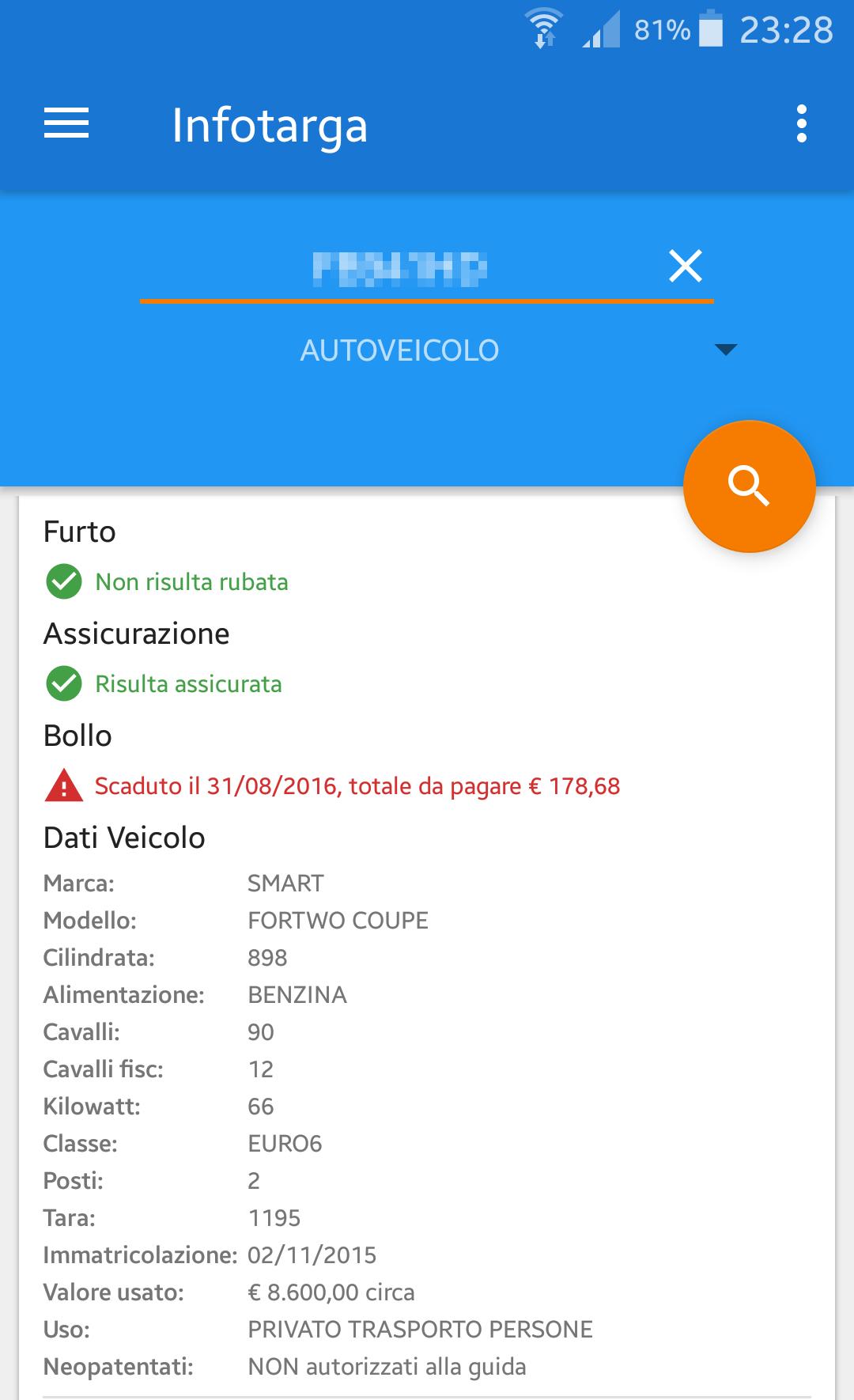 Come ottenere le informazioni di un veicolo dalla targa | App Android 4