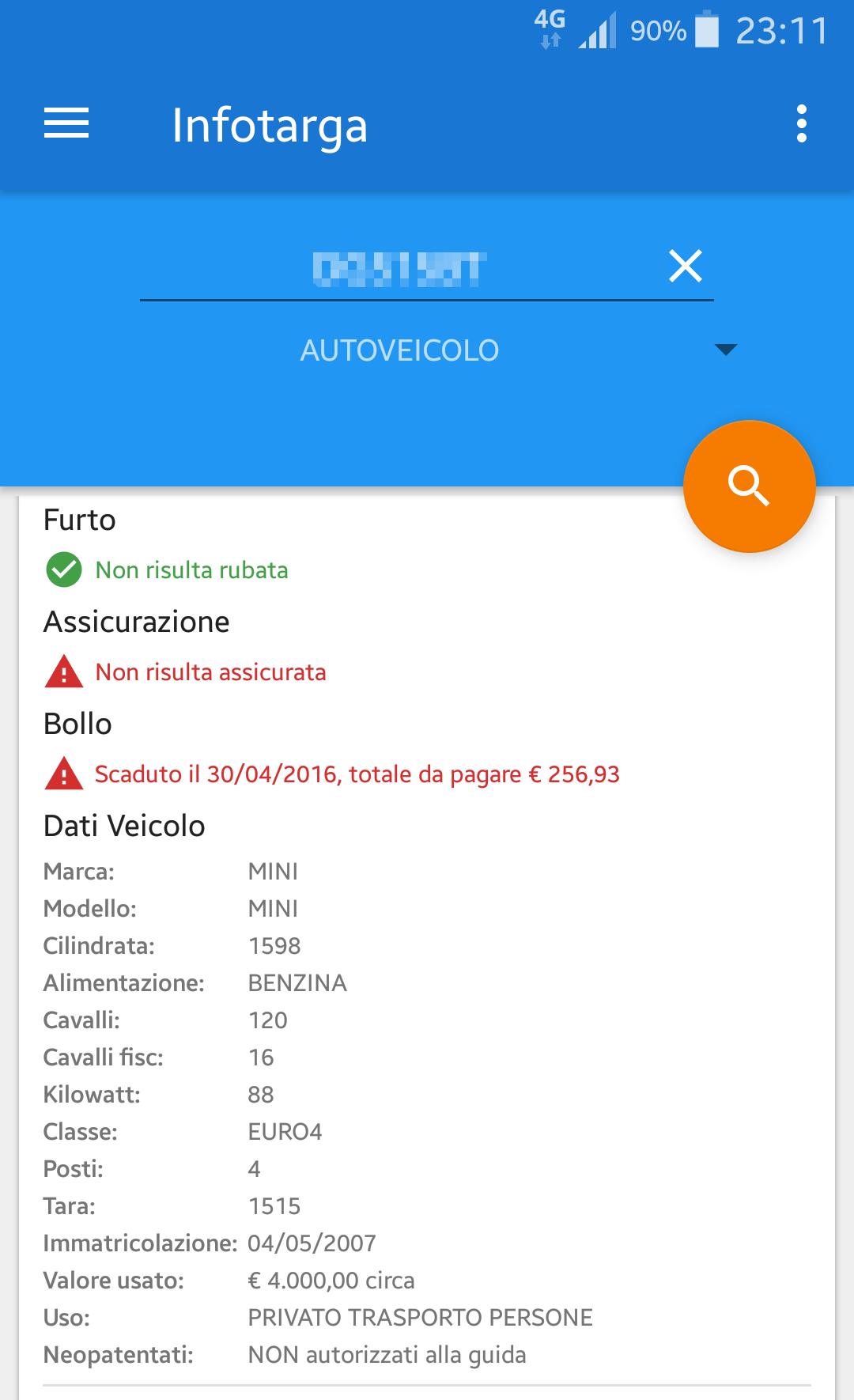 Come ottenere le informazioni di un veicolo dalla targa | App Android 5