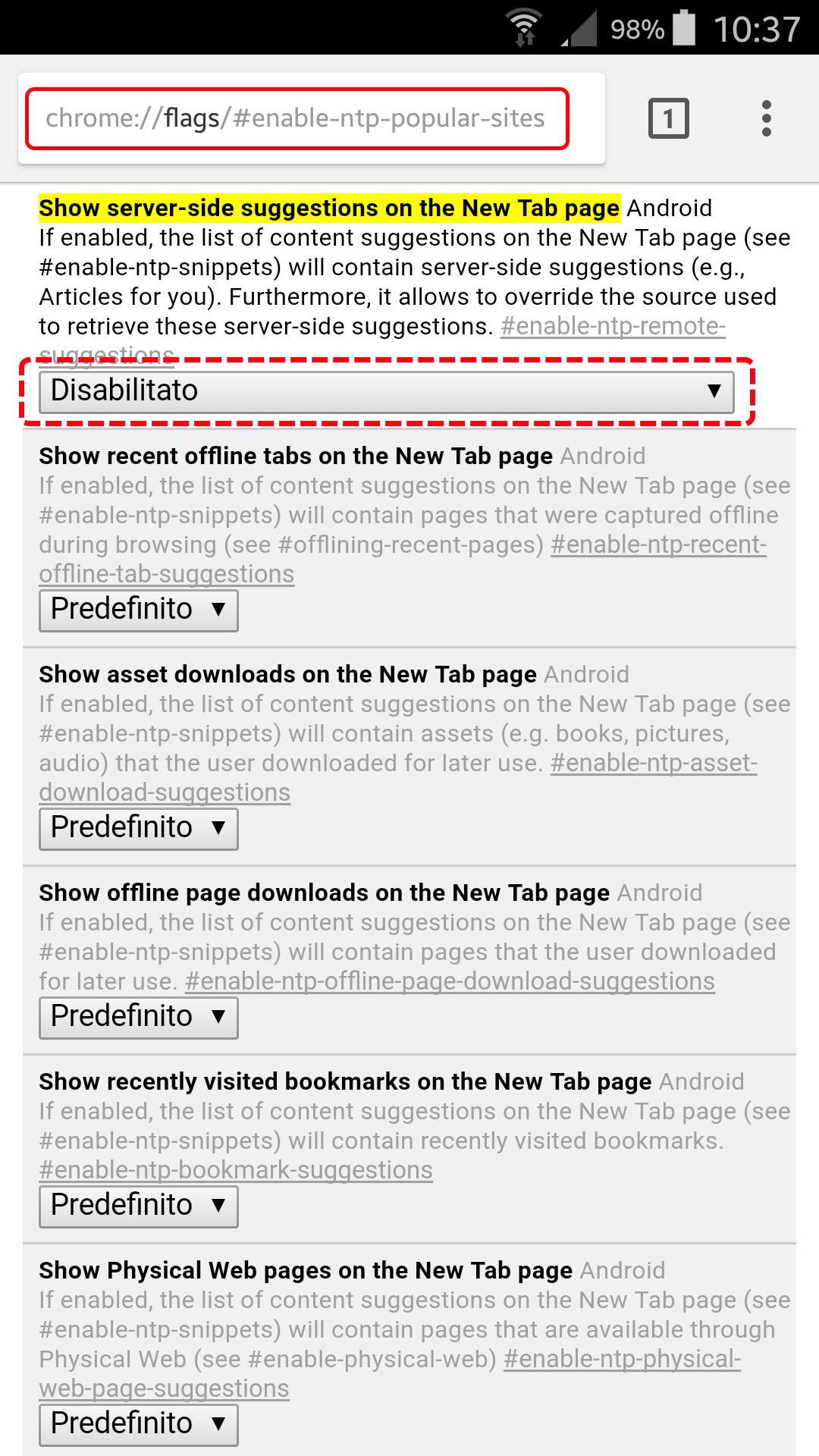 Come nascondere gli articoli suggeriti in Chrome per Android 3