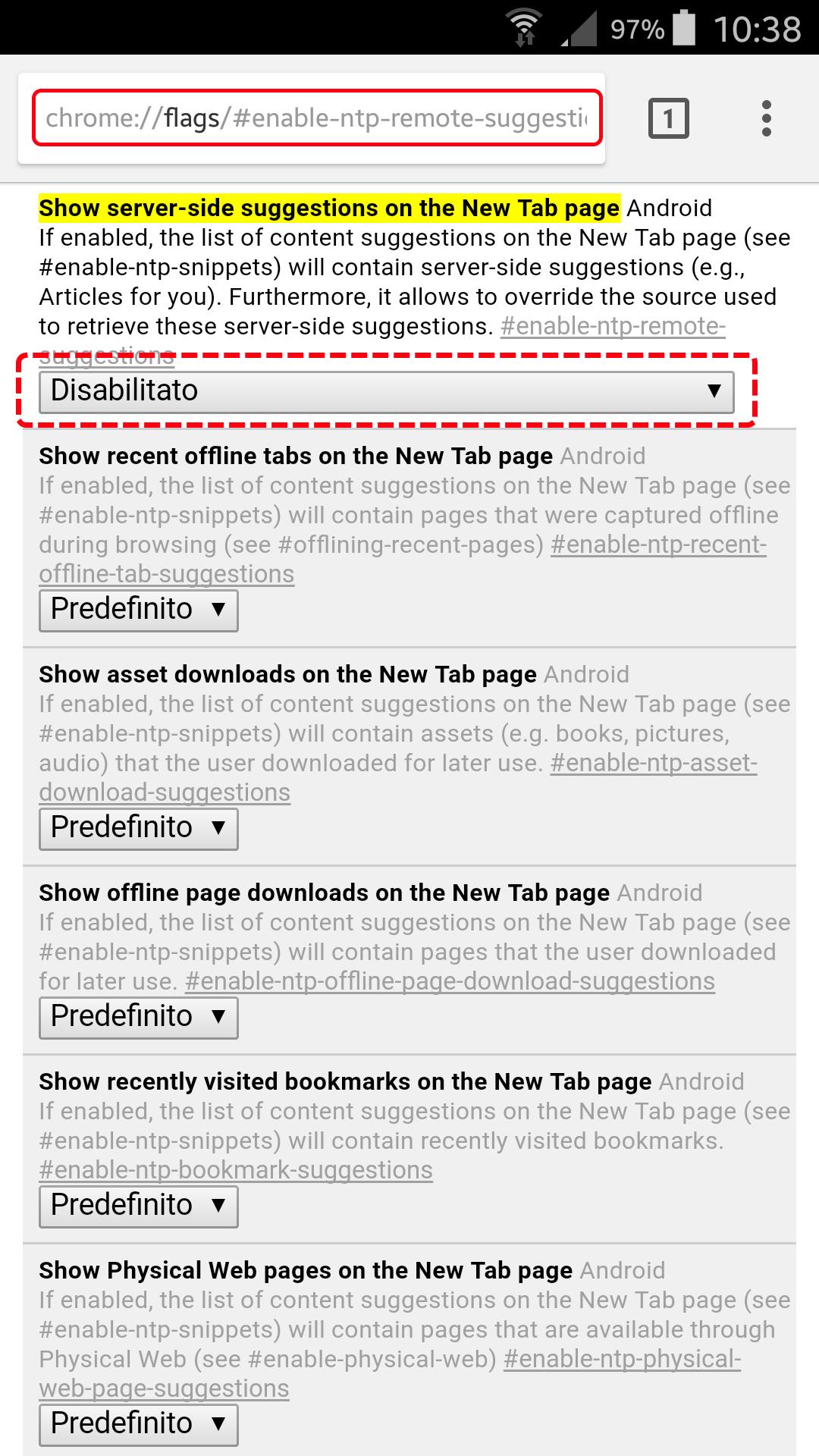 Come nascondere gli articoli suggeriti in Chrome per Android 5