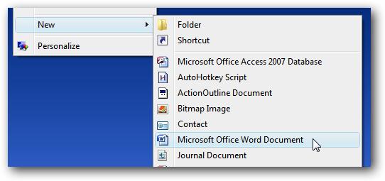 Come ripristinare Nuovo documento di Word nel menu contestuale del tasto destro su Windows logo