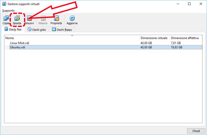 Come spostare in un'altra cartella una macchina virtuale di VirtualBox 4