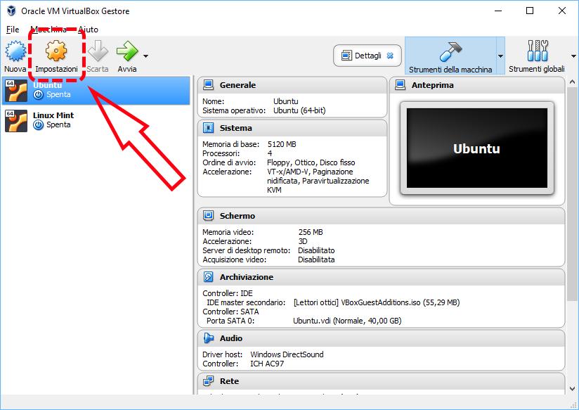 Come spostare in un'altra cartella una macchina virtuale di VirtualBox