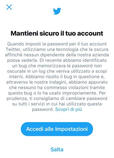 Perché devi cambiare la tua password di Twitter immediatamente
